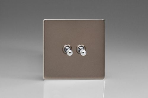 Varilight XERT2S Euro Pewter 2 Gang 10A 1 or 2 Way Toggle Light Switch